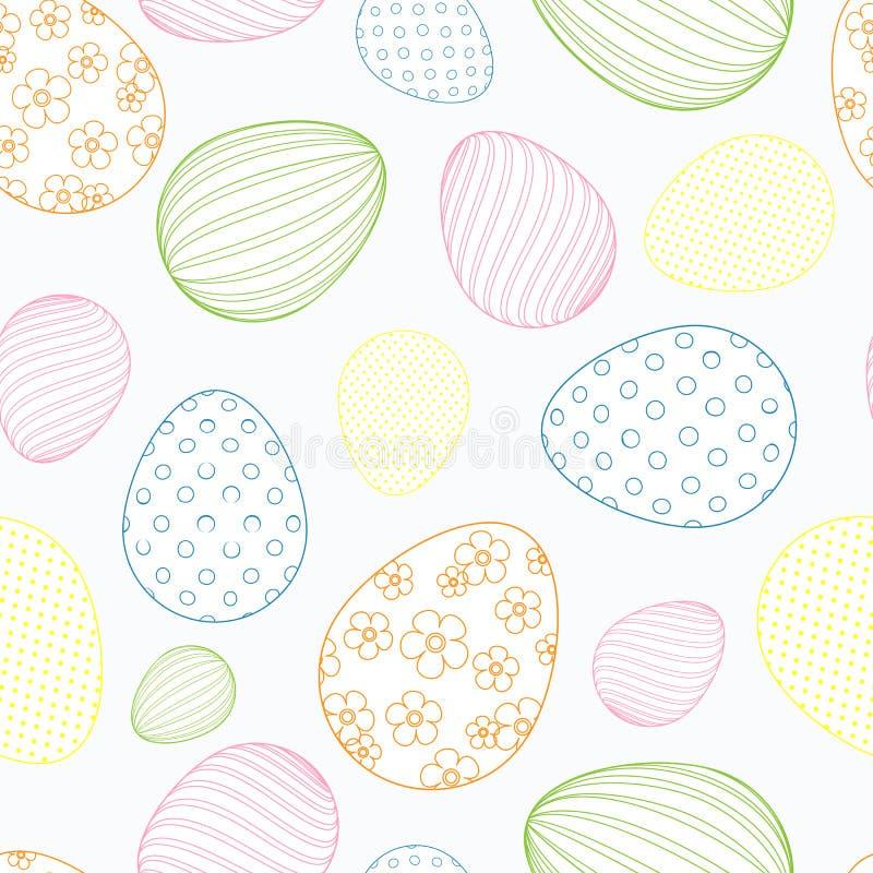 Άνευ ραφής σχέδιο από τα χρωματισμένα αυγά Πάσχας σε ένα ελαφρύ διακοσμητικό εορταστικό υπόβαθρο υποβάθρου για το σχέδιο των εμβλ απεικόνιση αποθεμάτων