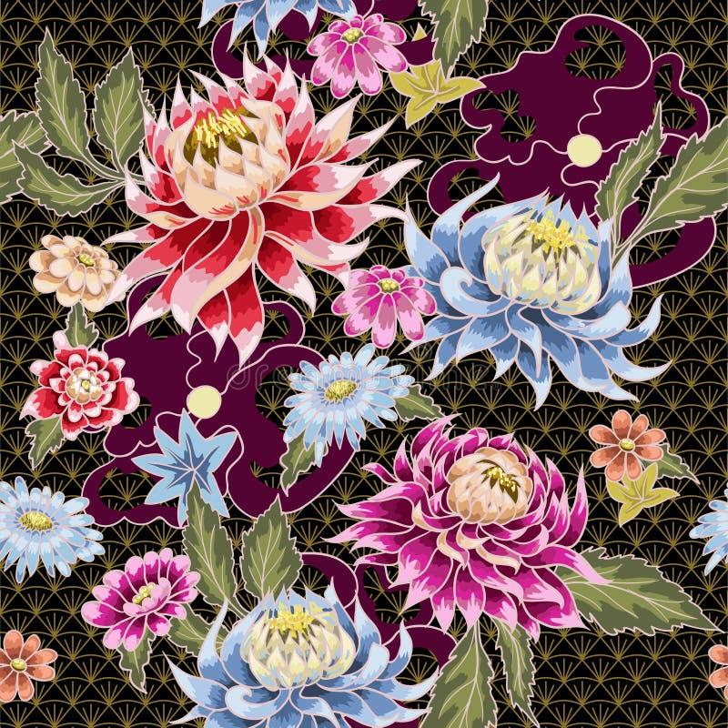 Άνευ ραφής σχέδιο από τα χρωματισμένα λουλούδια αστέρων ιαπωνικό ύφος ελεύθερη απεικόνιση δικαιώματος