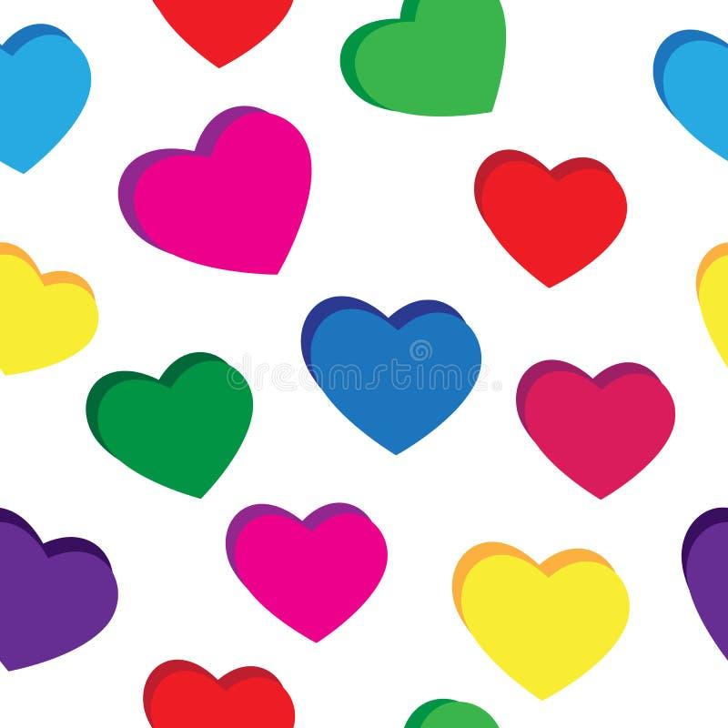 Άνευ ραφής σχέδιο από τις πολύχρωμες καρδιές σε ένα άσπρο υπόβαθρο ελεύθερη απεικόνιση δικαιώματος