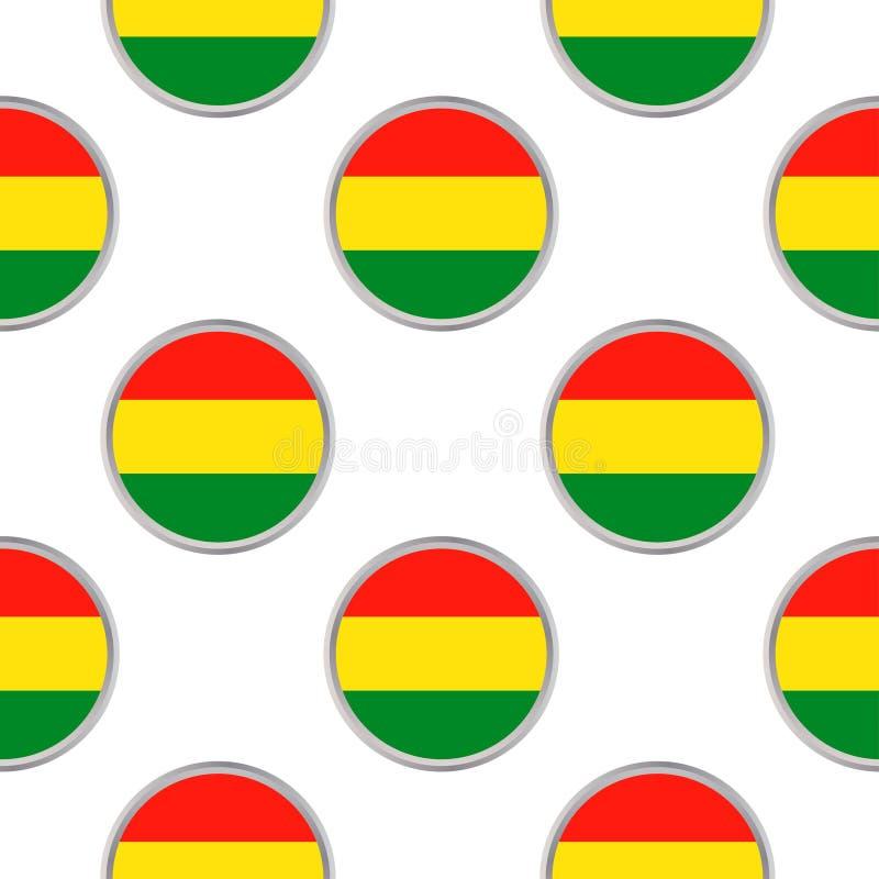 Άνευ ραφής σχέδιο από τους κύκλους με τη σημαία της Βολιβίας διανυσματική απεικόνιση