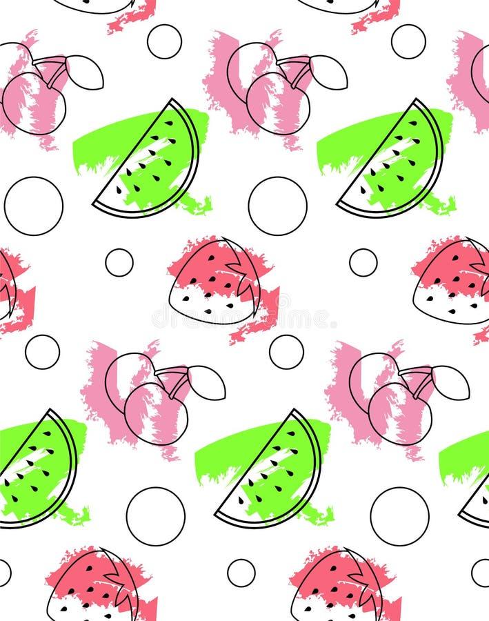 Άνευ ραφής σχέδιο από το καρπούζι, κεράσι, φράουλα ελεύθερη απεικόνιση δικαιώματος