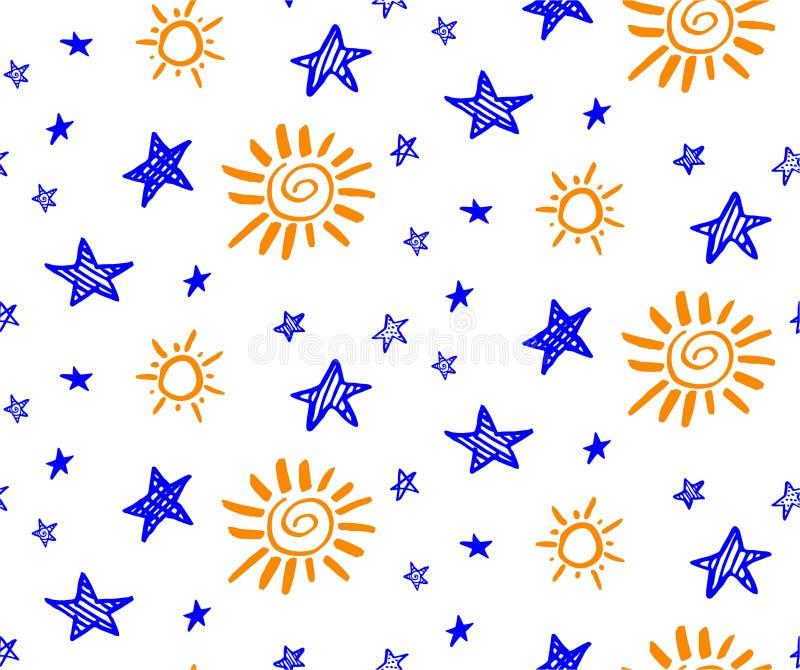 Άνευ ραφής σχέδιο αστεριών και ήλιων Doodle διανυσματικό συρμένο χέρι Ύφος κινούμενων σχεδίων διανυσματική απεικόνιση