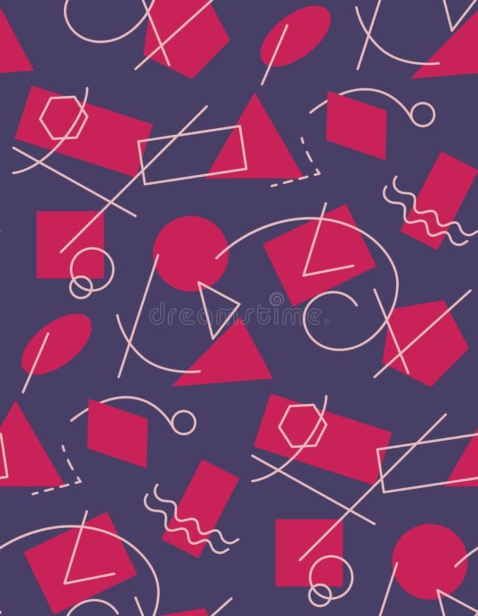 Άνευ ραφής σχέδιο αφαίρεσης με τις γεωμετρικές μορφές και τις γραμμές διανυσματική απεικόνιση