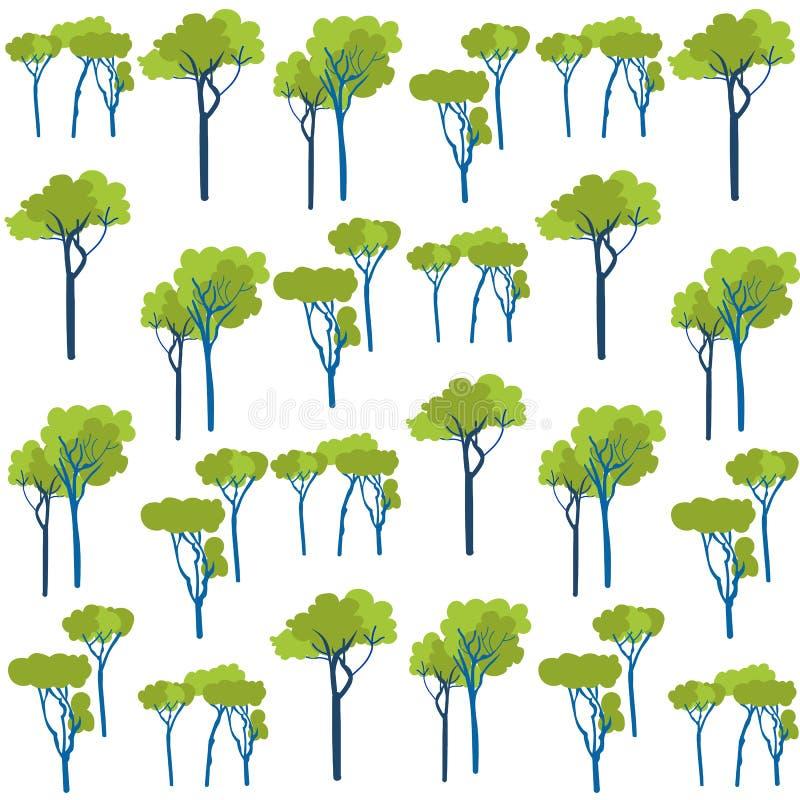Άνευ ραφής σχέδιο βλάστησης δέντρων κήπων πράσινο διανυσματική απεικόνιση