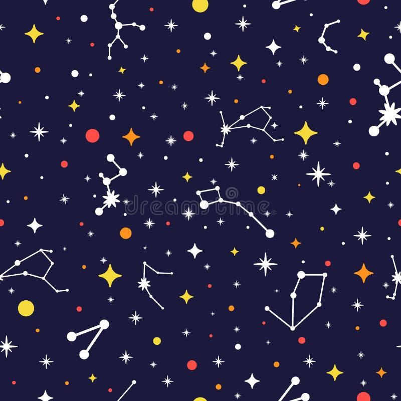 Άνευ ραφής σχέδιο γαλαξιών Φωτεινό διαστημικό υπόβαθρο Σύσταση αστερισμού χρώματος Διανυσματική απεικόνιση για την τυπωμένη ύλη,  διανυσματική απεικόνιση