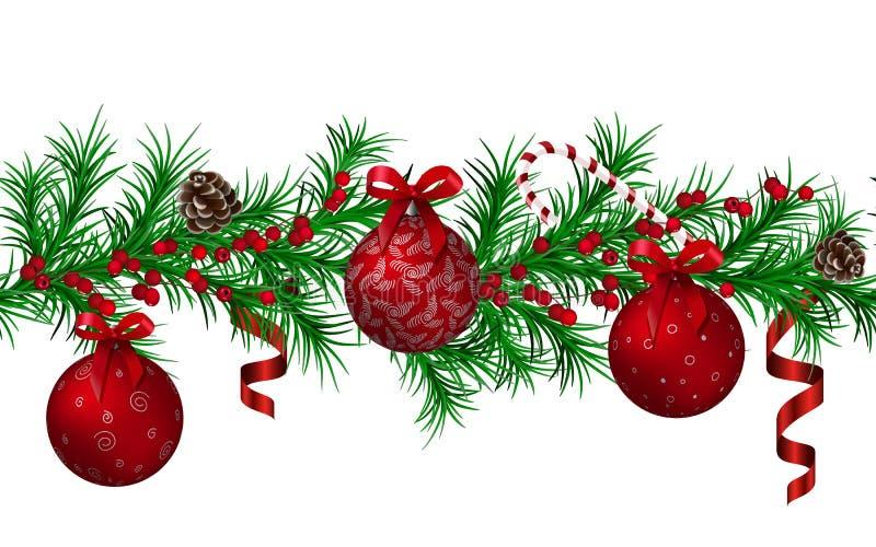 Άνευ ραφής σχέδιο γιρλαντών έλατου Χριστουγέννων, κόκκινες μεταλλικές λαμπρές σφαίρες Χριστουγέννων και κορδέλλες, κώνοι, κάλαμος διανυσματική απεικόνιση