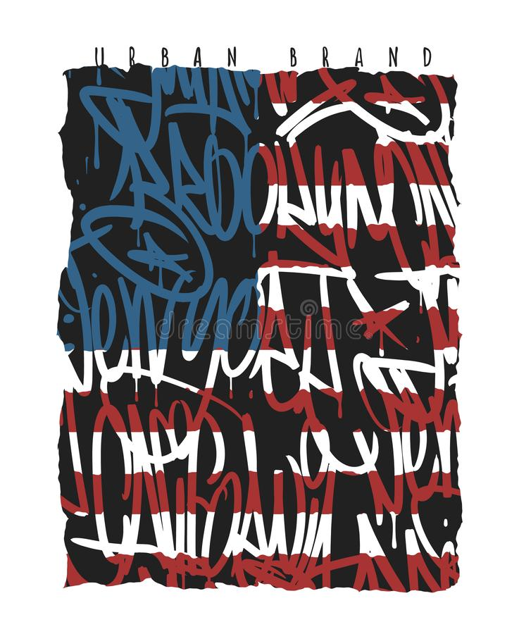 Άνευ ραφής σχέδιο γκράφιτι του Μπρούκλιν Νέα Υόρκη Μαϊάμι Καλιφόρνια αμερικανικών σημαιών, γραφική παράσταση μπλουζών απεικόνιση αποθεμάτων