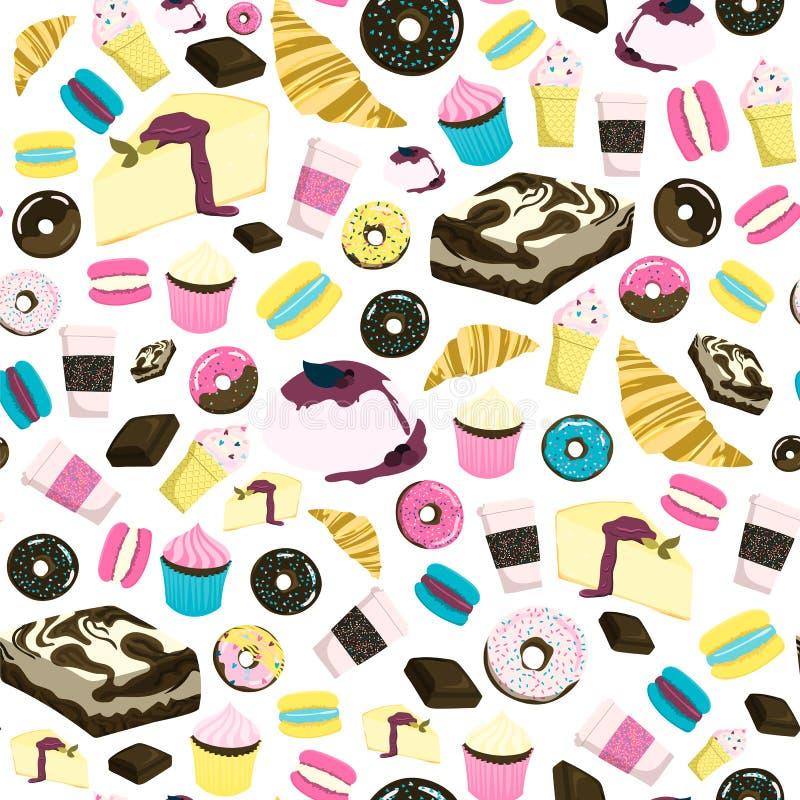 Άνευ ραφής σχέδιο γλυκών με cheesecake, brownie, cupcake, τη σοκολάτα, doughnut, το παγωτό, croissant κ.λπ. ελεύθερη απεικόνιση δικαιώματος