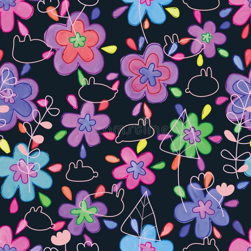 Άνευ ραφής σχέδιο γραμμών εγκαταστάσεων κουνελιών watercolor γραμμών στρώματος λουλουδιών διανυσματική απεικόνιση