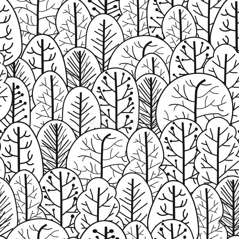 Άνευ ραφής σχέδιο δασικών δέντρων Συρμένο χέρι ύφος ελεύθερη απεικόνιση δικαιώματος