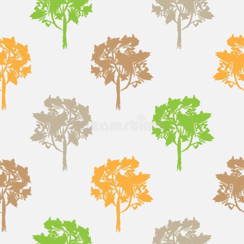 Άνευ ραφής σχέδιο, διάνυσμα που επαναλαμβάνει την απεικόνιση, διακοσμητικά διακοσμητικά τυποποιημένα ατελείωτα δέντρα Αφηρημένο υ ελεύθερη απεικόνιση δικαιώματος