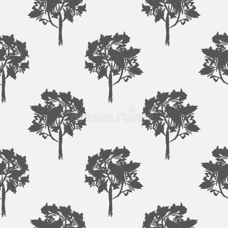 Άνευ ραφής σχέδιο, διάνυσμα που επαναλαμβάνει την απεικόνιση, διακοσμητικά διακοσμητικά τυποποιημένα ατελείωτα δέντρα Αφηρημένο υ απεικόνιση αποθεμάτων