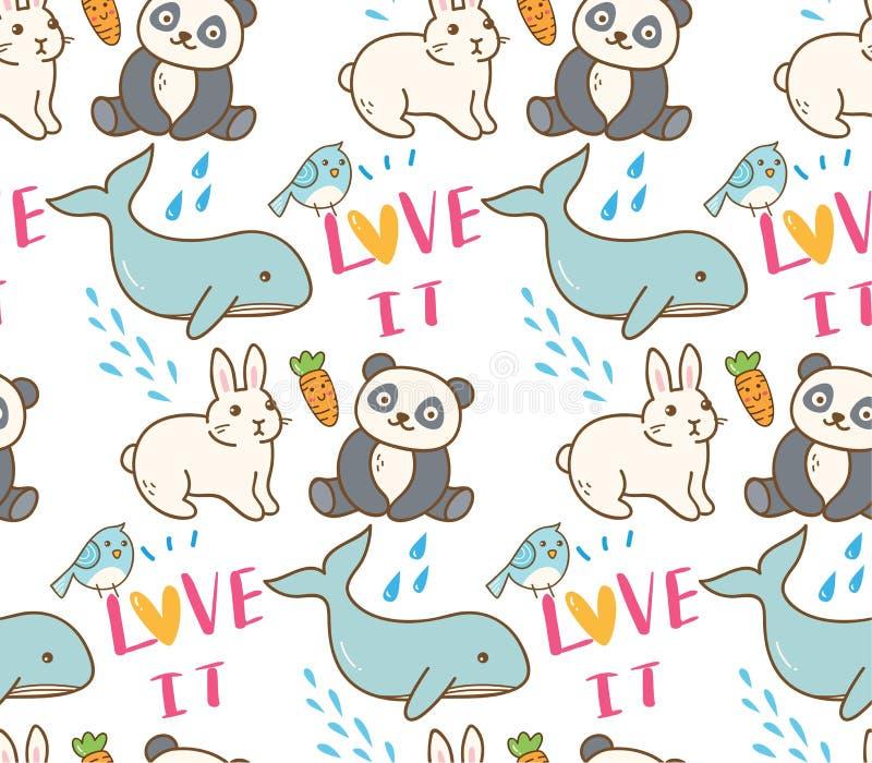 Άνευ ραφής σχέδιο διάφορων ζώων στην απεικόνιση ύφους kawaii ελεύθερη απεικόνιση δικαιώματος