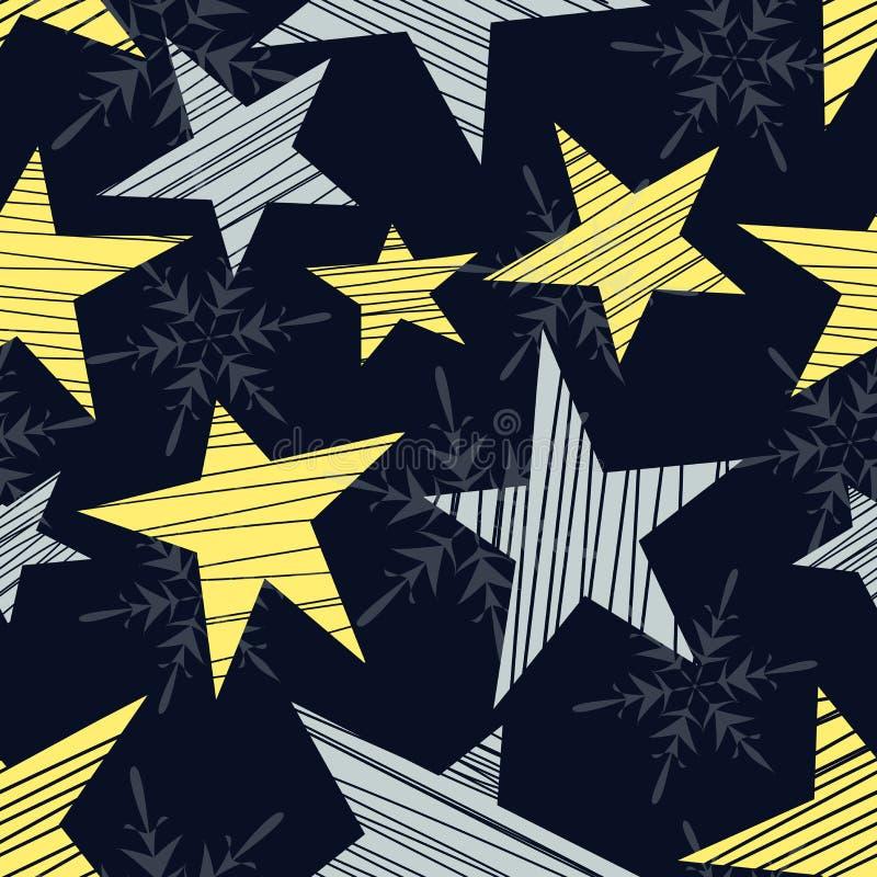 Άνευ ραφής σχέδιο διακοπών με τα αστέρια και snowflakes απεικόνιση αποθεμάτων