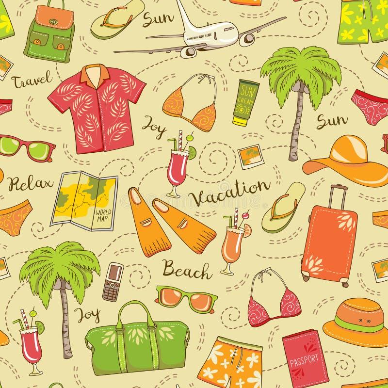 Άνευ ραφής σχέδιο διακοπών παραλιών Ζωηρόχρωμο υπόβαθρο θερινού ταξιδιού με τα μαγιό, γυαλιά ηλίου, κοκτέιλ, τσάντες, καπέλα, χάρ ελεύθερη απεικόνιση δικαιώματος