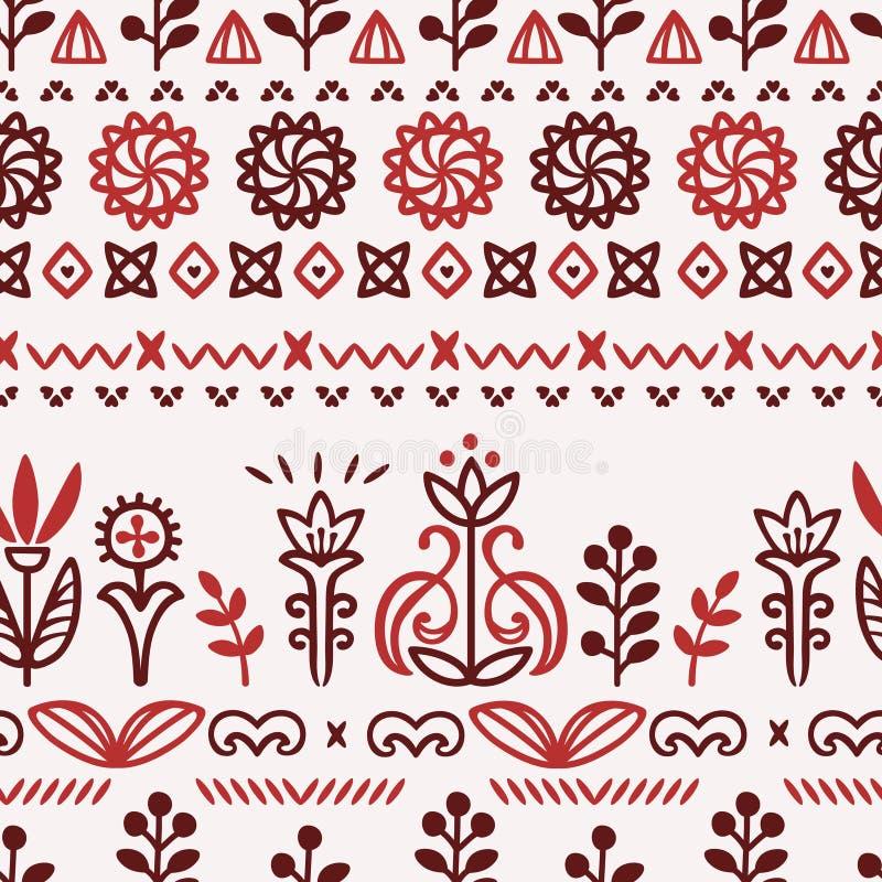 Άνευ ραφής σχέδιο διακοσμητικό του τυποποιημένου Σκανδιναβικού sla λουλουδιών διανυσματική απεικόνιση