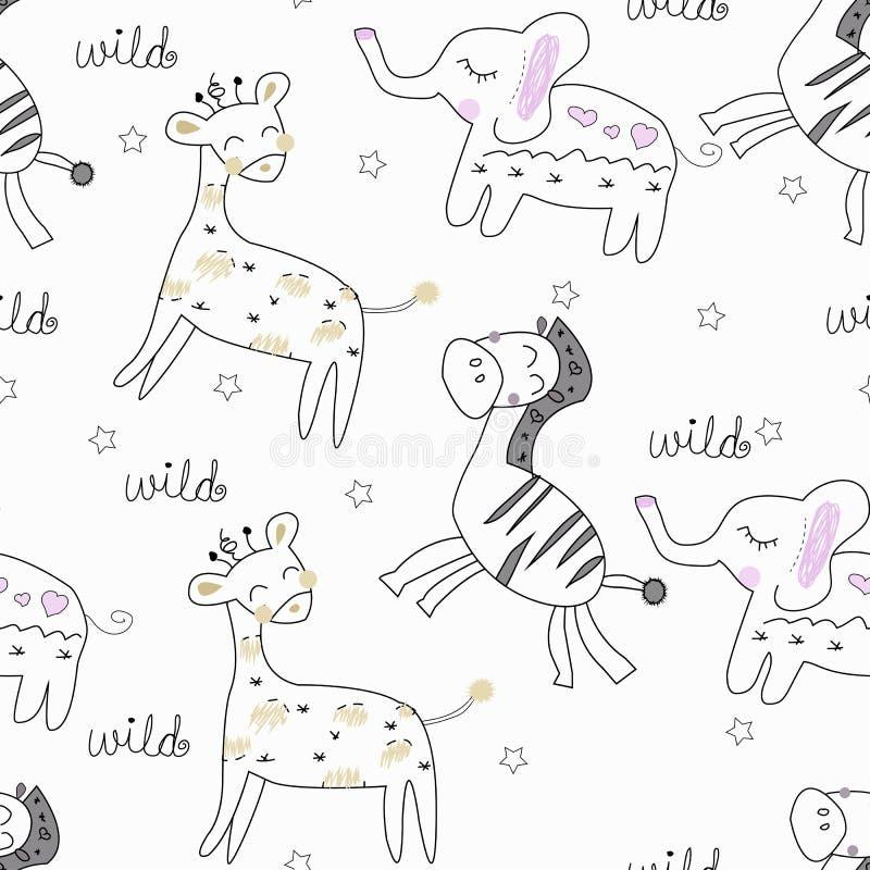 Άνευ ραφής σχέδιο ζώων σαφάρι διανυσματική απεικόνιση