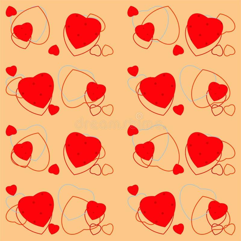 Άνευ ραφής σχέδιο ημέρας βαλεντίνου με τις καρδιές και το σημείο Πόλκα διανυσματική απεικόνιση