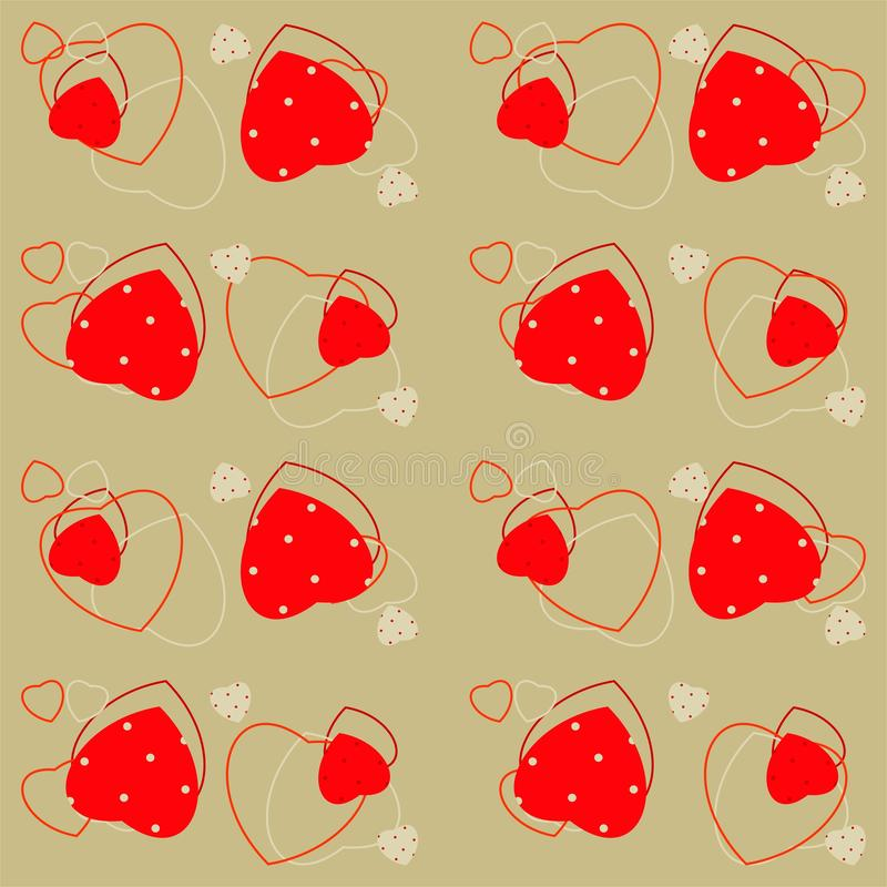 Άνευ ραφής σχέδιο ημέρας βαλεντίνου με τις καρδιές και το σημείο Πόλκα ελεύθερη απεικόνιση δικαιώματος