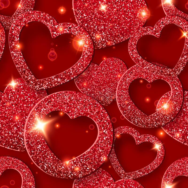 Άνευ ραφής σχέδιο ημέρας βαλεντίνων με τις λάμποντας καρδιές Απεικόνιση καρτών διακοπών στο κόκκινο υπόβαθρο απεικόνιση αποθεμάτων