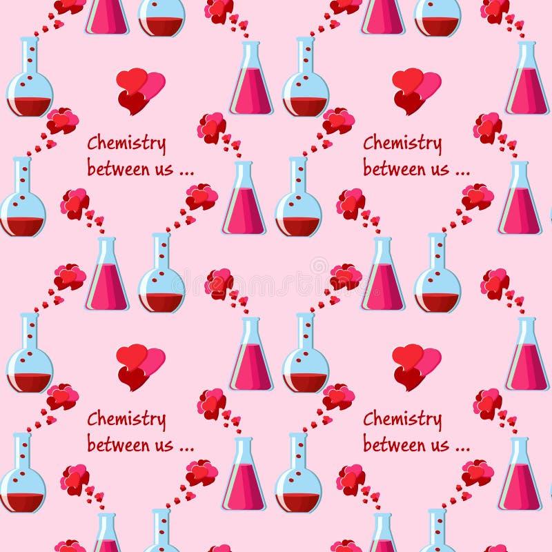Άνευ ραφής σχέδιο ημέρας βαλεντίνων με τις χημικές κούπες με το ελιξίριο αγάπης, χημεία κειμένων μεταξύ μας διανυσματική απεικόνιση
