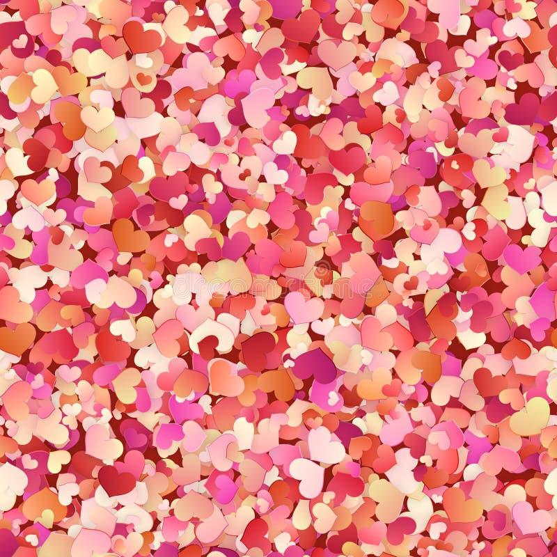 Άνευ ραφής σχέδιο ημέρας βαλεντίνων με το κόκκινο, ροζ, μικρές καρδιές κρητιδογραφιών 10 eps απεικόνιση αποθεμάτων