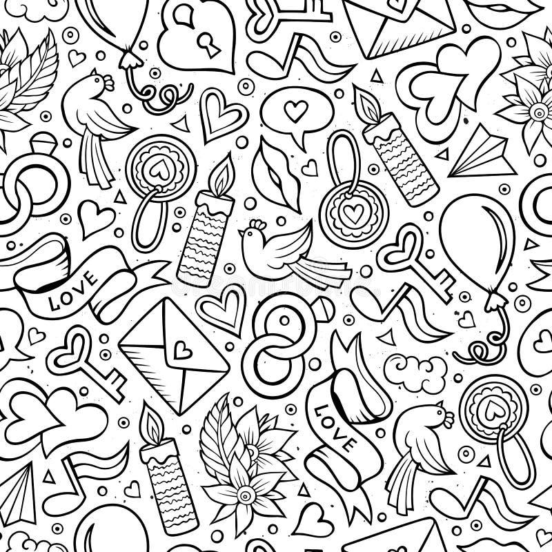 Άνευ ραφής σχέδιο ημέρας βαλεντίνων ` s κινούμενων σχεδίων χαριτωμένο συρμένο χέρι ελεύθερη απεικόνιση δικαιώματος