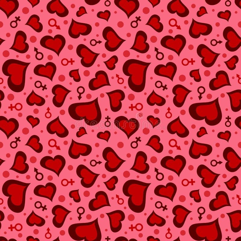 Άνευ ραφής σχέδιο ημέρας βαλεντίνων ` s με τις καρδιές, τα σύμβολα ανδρών και γυναικών απεικόνιση αποθεμάτων