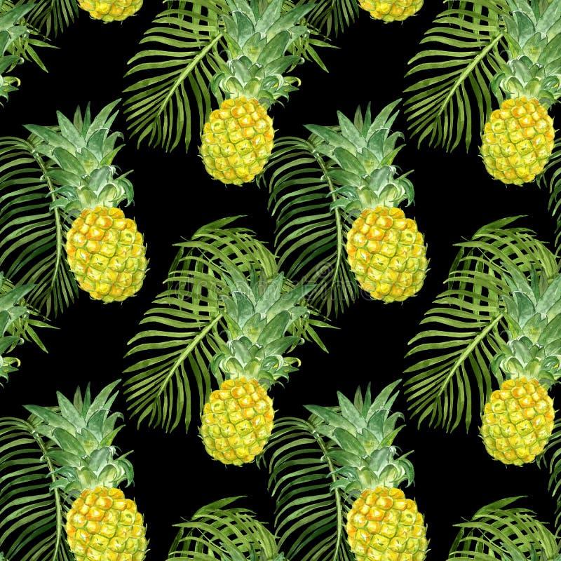 Άνευ ραφής σχέδιο θερινών εξωτικό τροπικό φρούτων Ώριμοι ανανάδες Watercolop και πράσινο φύλλο φοινικών στο σκοτεινό υπόβαθρο διανυσματική απεικόνιση