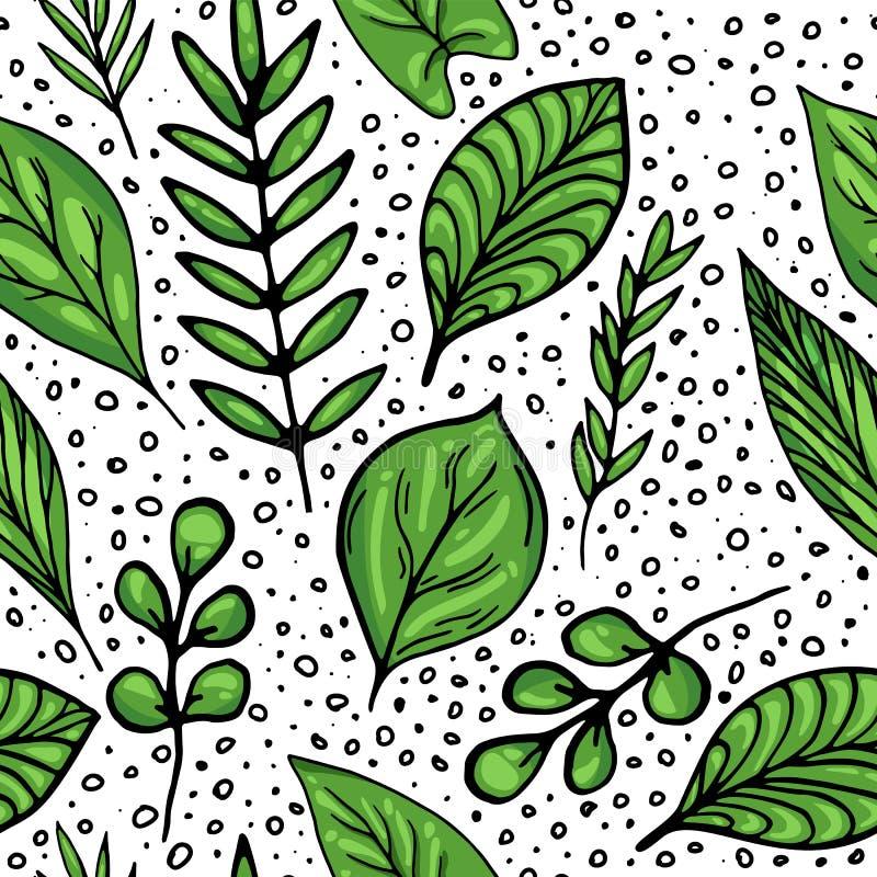 Άνευ ραφής σχέδιο θερινών πράσινο φύλλων ελεύθερη απεικόνιση δικαιώματος