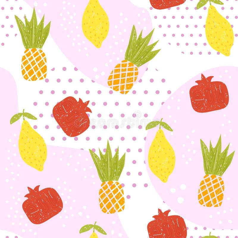 Άνευ ραφής σχέδιο θερινών φρούτων Ανανάς, λεμόνι και γρανάτης, σύσταση σημείων απεικόνιση αποθεμάτων