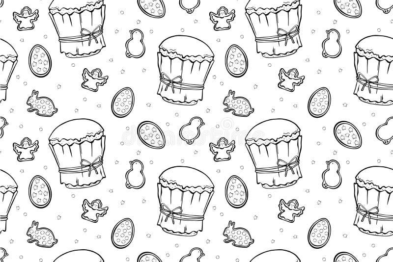 Άνευ ραφής σχέδιο κέικ, αυγών και αγγέλων Πάσχας διανυσματική απεικόνιση