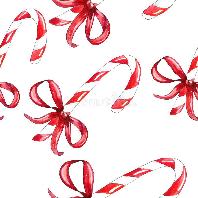 Άνευ ραφής σχέδιο καλάμων καραμελών Χριστουγέννων διανυσματική απεικόνιση