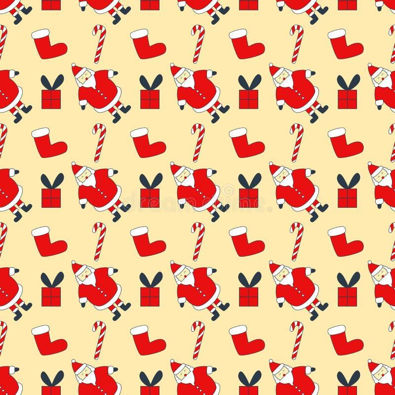 Άνευ ραφής σχέδιο καλής χρονιάς με Άγιο Βασίλη, κάλαμος καραμελών  κιβώτιο δώρων ελεύθερη απεικόνιση δικαιώματος