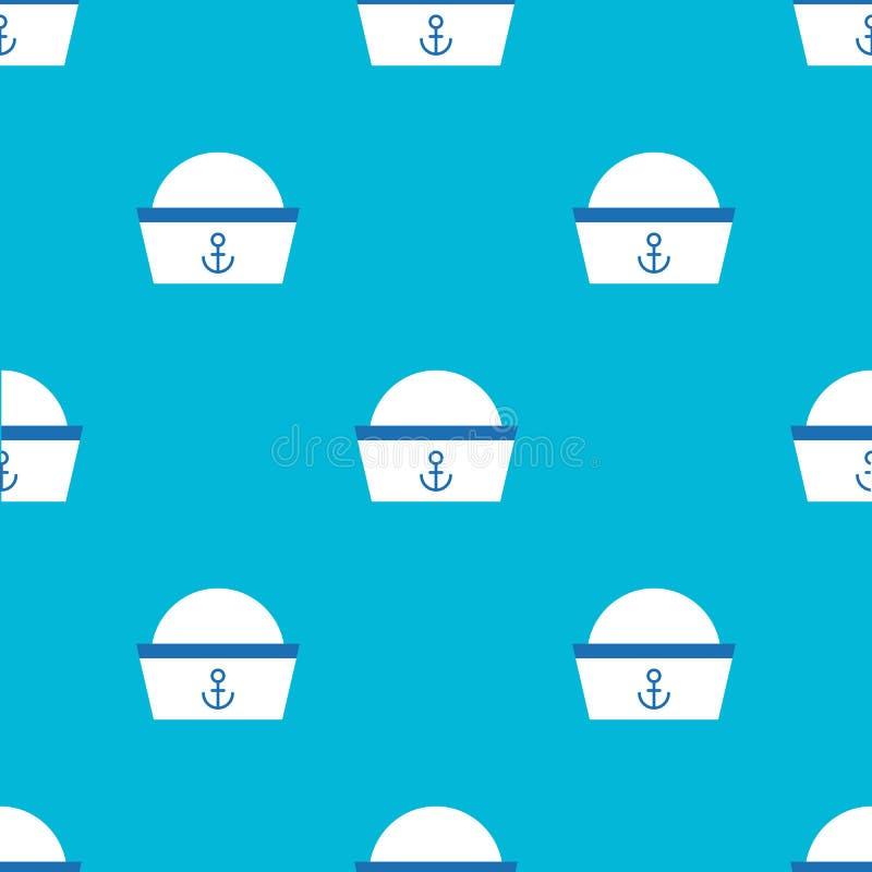 Άνευ ραφής σχέδιο καπέλων ναυτικών για τη χρήση ως δώρο τυλίγοντας εγγράφου ή wa ελεύθερη απεικόνιση δικαιώματος