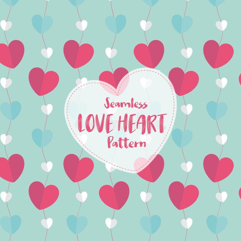 Άνευ ραφής σχέδιο καρδιών αγάπης στο ρομαντικό χρώμα κρητιδογραφιών επίσης corel σύρετε το διάνυσμα απεικόνισης διανυσματική απεικόνιση