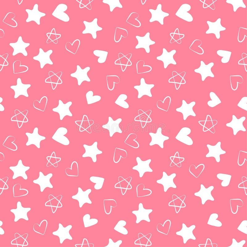Άνευ ραφής σχέδιο καρδιών και αστεριών Τυπωμένη ύλη σχεδίου μόδας παιδιού Στοιχεία σχεδίου για το γάμο, τα γενέθλια ή την ημέρα τ απεικόνιση αποθεμάτων