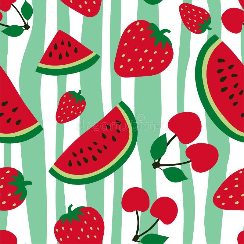 Άνευ ραφής σχέδιο καρπουζιών, κερασιών και φραουλών Κόκκινο μούρο Γλυκά φρούτα Σχέδιο μόδας Τυπωμένη ύλη τροφίμων για το φόρεμα,  απεικόνιση αποθεμάτων
