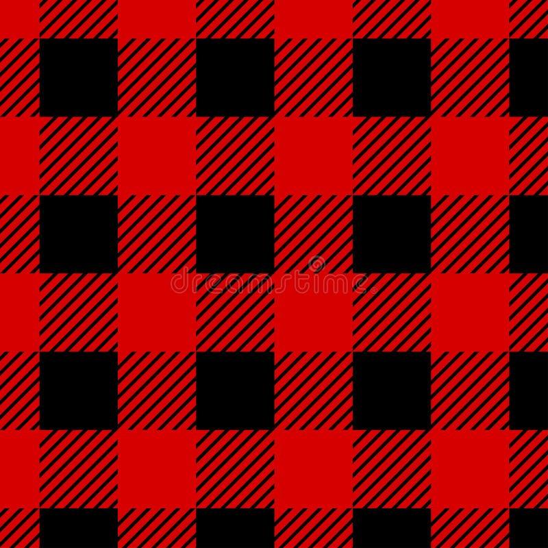 Άνευ ραφής σχέδιο καρό Buffalo υλοτόμων Κόκκινος και μαύρος υλοτόμος διανυσματική απεικόνιση