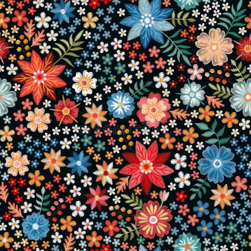 Άνευ ραφής σχέδιο κεντητικής με τα φωτεινά ζωηρόχρωμα λουλούδια Σχέδιο μόδας άνοιξης ή καλοκαιριού r διανυσματική απεικόνιση