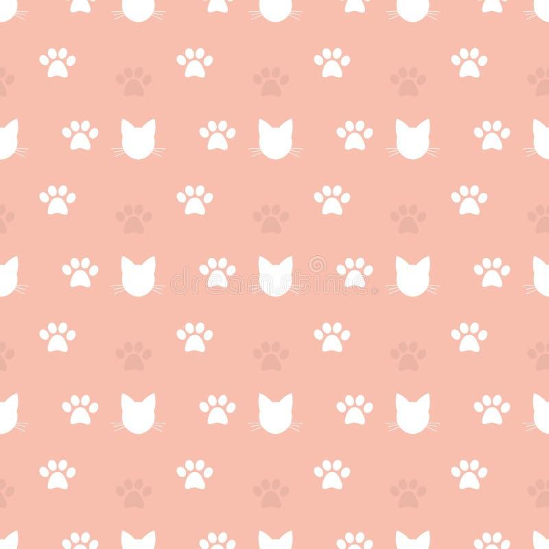 Άνευ ραφής σχέδιο κεφαλιών γατών και τυπωμένων υλών ποδιών ελεύθερη απεικόνιση δικαιώματος