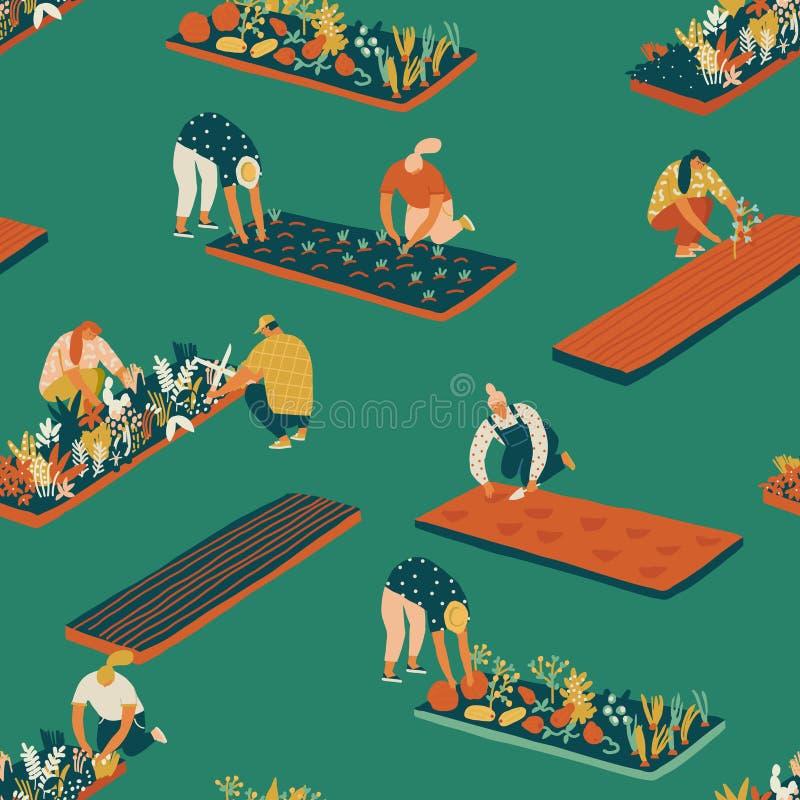 Άνευ ραφής σχέδιο κηπουρικής και καλλιέργειας διανυσματική απεικόνιση