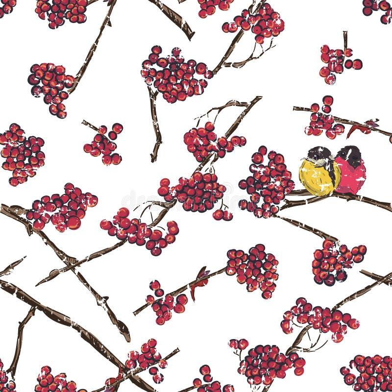 Άνευ ραφής σχέδιο κλάδων του Rowan Πουλιά που κάθονται στον κλάδο σορβιών Ύφος Doodle ελεύθερη απεικόνιση δικαιώματος
