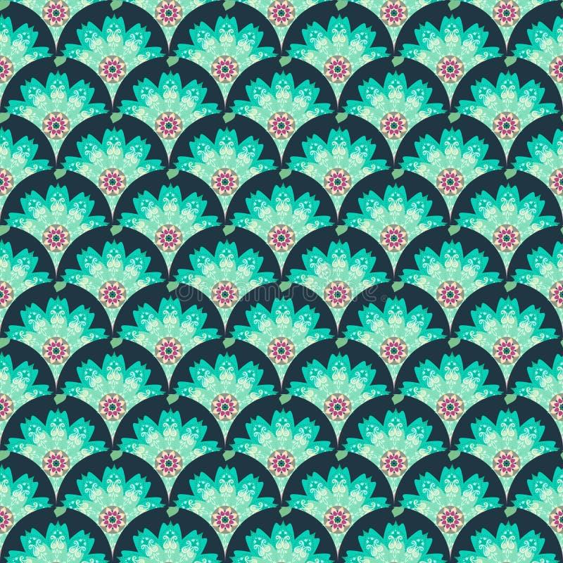 Άνευ ραφής σχέδιο κλίμακας με το τεμάχιο του λουλουδιού - mandala και σχέδιο του Paisley στα πράσινα χρώματα r διανυσματική απεικόνιση