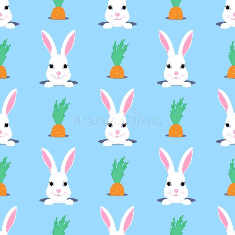 Το λαγουδάκι Πάσχας κοιτάζει από την τρύπα Άνευ ραφής σχέδιο κουνελιών και παιδιών καρότων Μπορέστε να χρησιμοποιηθείτε για τη δι διανυσματική απεικόνιση