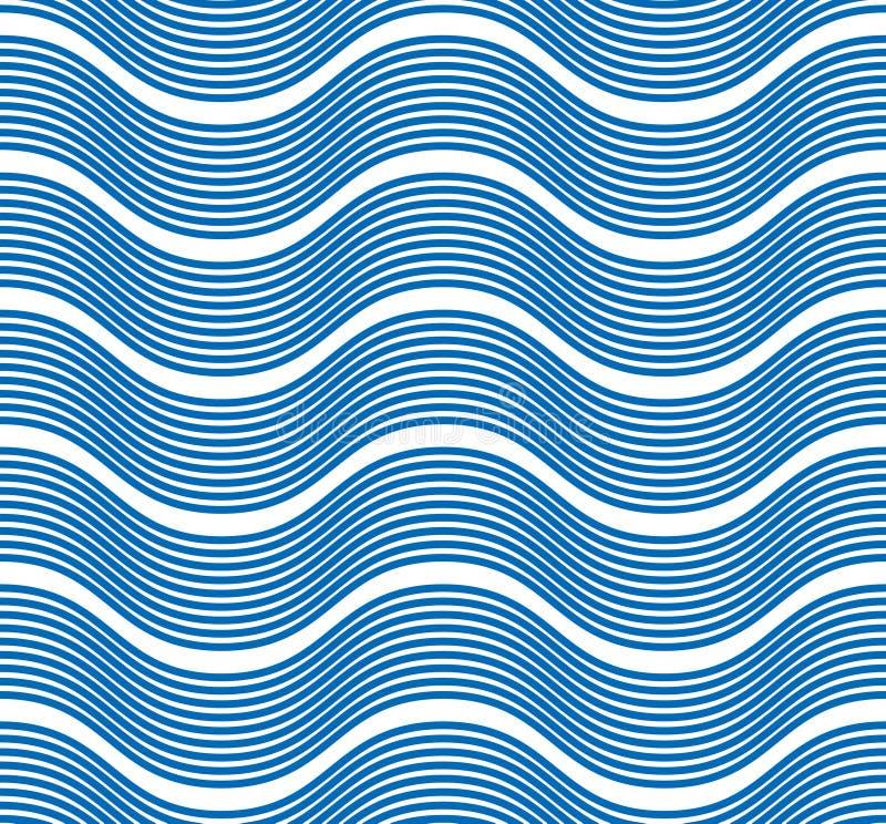 Άνευ ραφής σχέδιο κυμάτων, διανυσματική περίληψη γραμμών καμπυλών νερού runny απεικόνιση αποθεμάτων