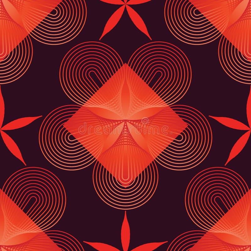 Άνευ ραφής σχέδιο κόκκινου χρώματος λουλουδιών γραμμών αστεριών κύκλων ελεύθερη απεικόνιση δικαιώματος