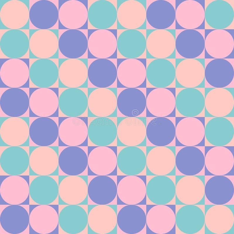 Άνευ ραφής σχέδιο - κύκλοι στα τετράγωνα στοκ εικόνες