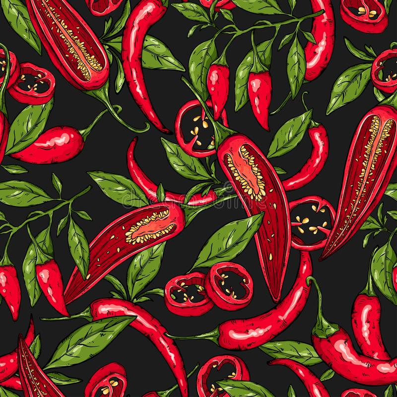 Άνευ ραφής σχέδιο λαχανικών πιπεριών τσίλι απεικόνιση αποθεμάτων