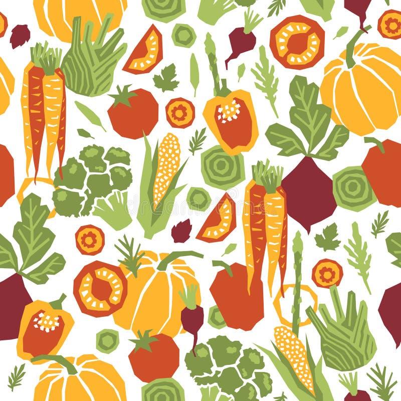 Άνευ ραφής σχέδιο λαχανικών ύφους Papercut οργανικά λαχανικά απεικόνιση αποθεμάτων